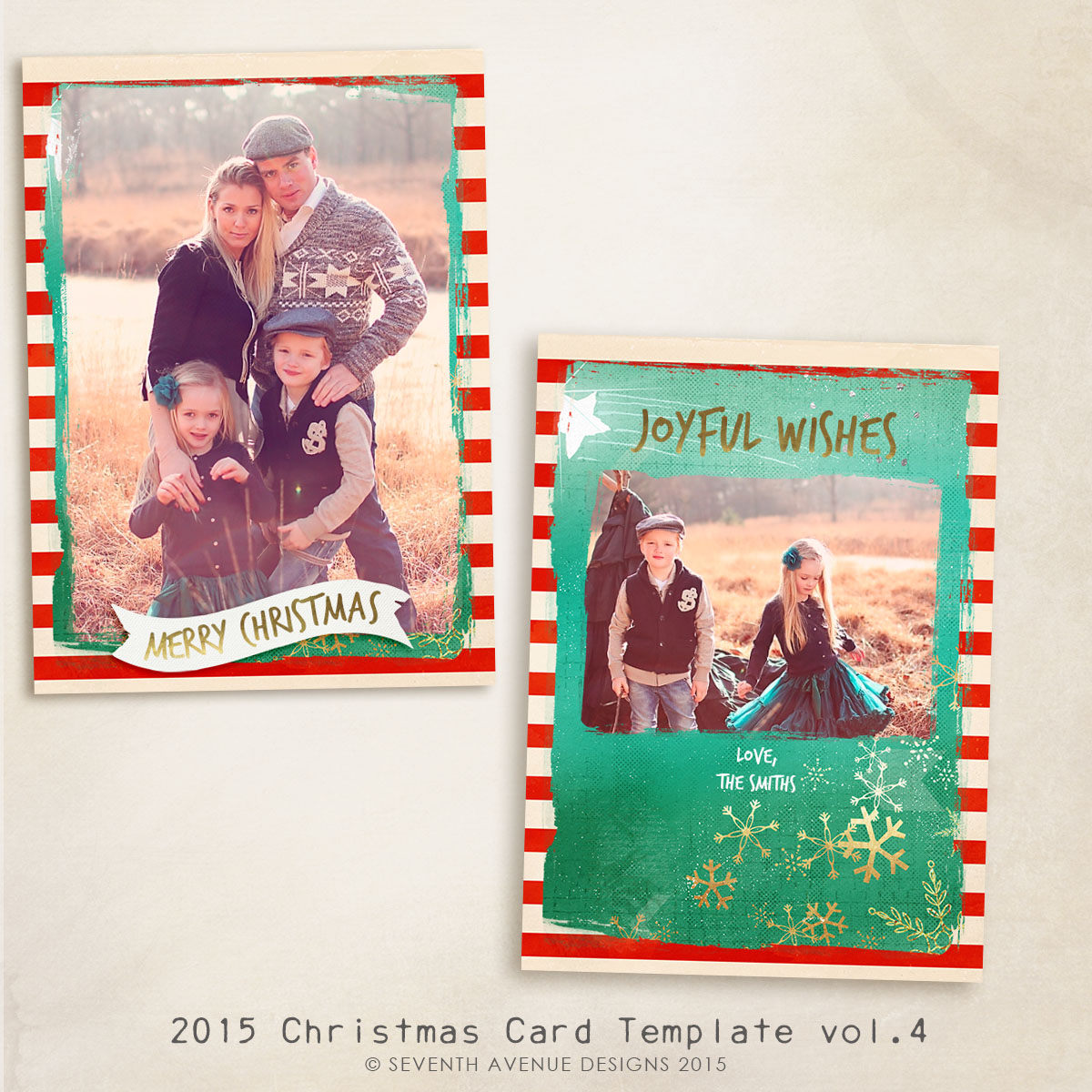 2015 Christmas Card Templates vol.4 -- 7x5 inch card template