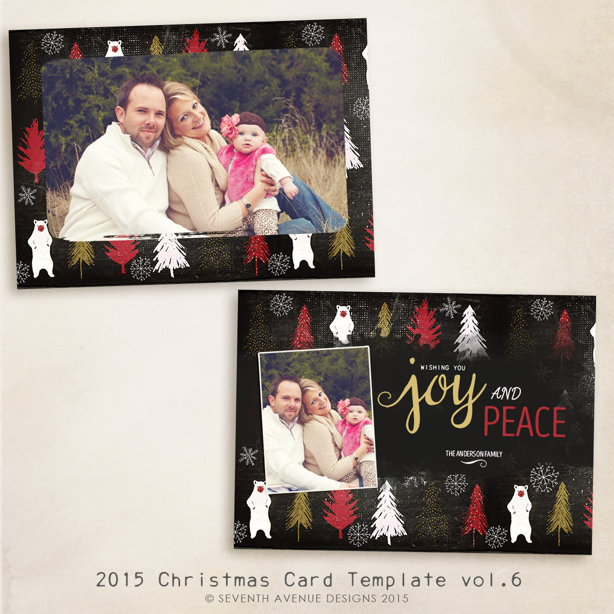 2015 Christmas Card Templates vol.6 -- 7x5 inch card template