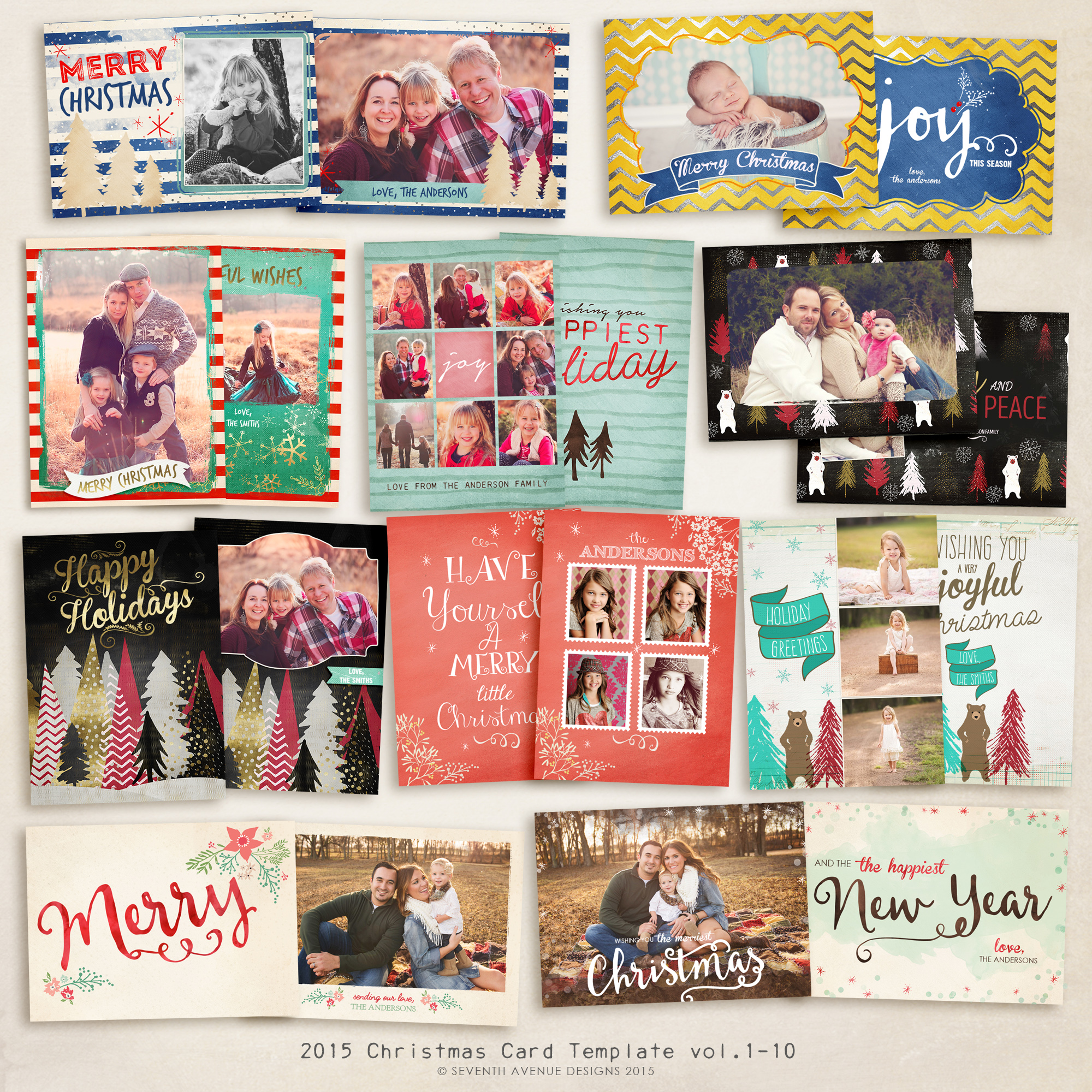 2015 Christmas Card Templates vol.1-10 -- 7x5 inch card template
