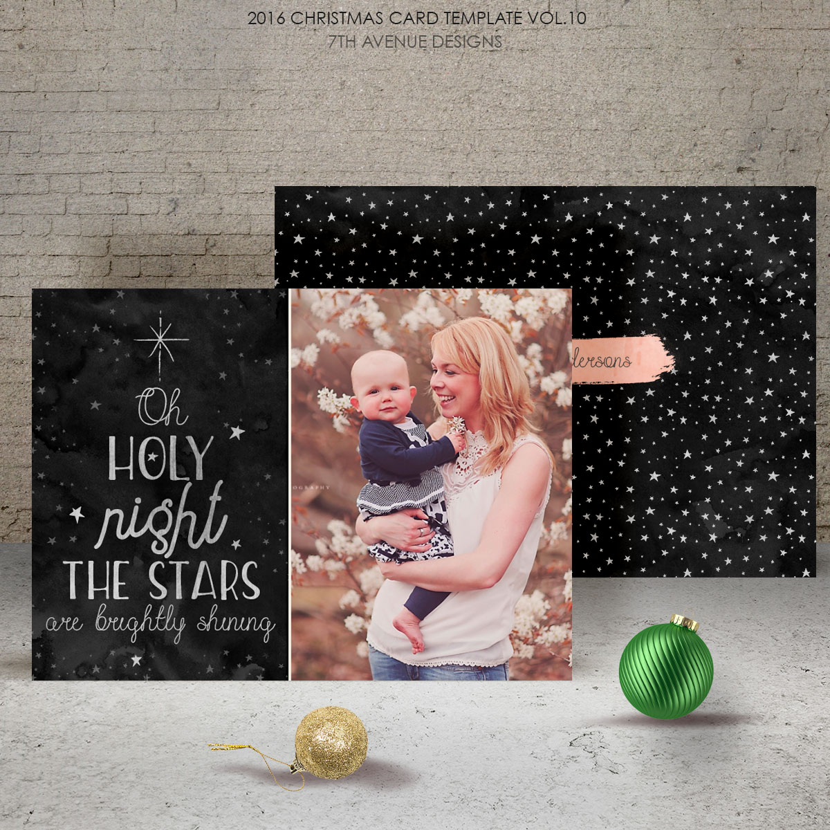 2016 Christmas Card Templates vol.10 -- 7x5 inch card template