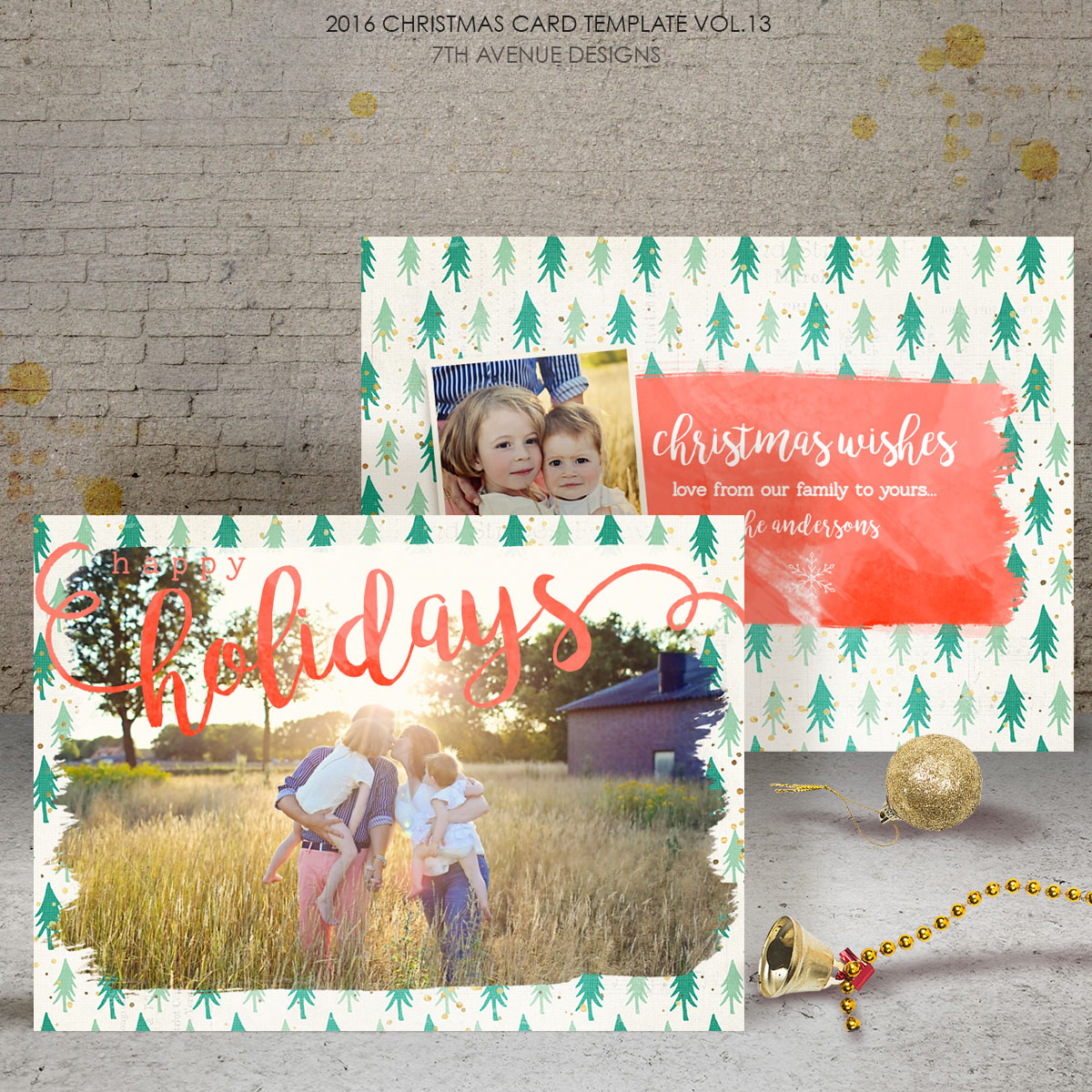 2016 Christmas Card Templates vol.13 -- 7x5 inch card template