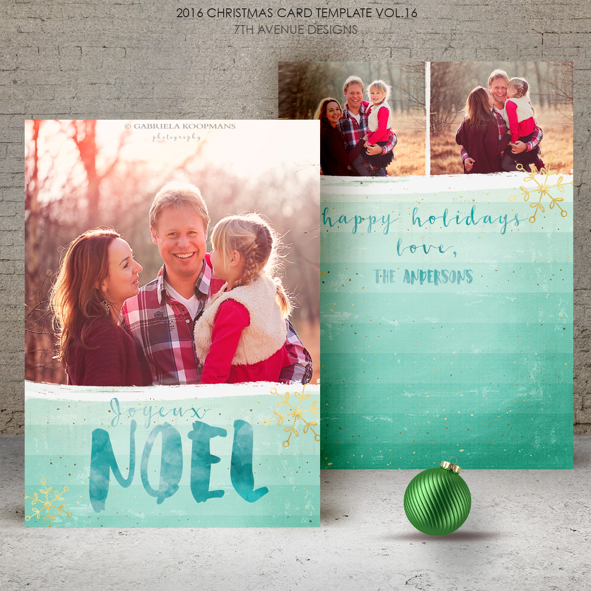 2016 Christmas Card Templates vol.16 -- 7x5 inch card template