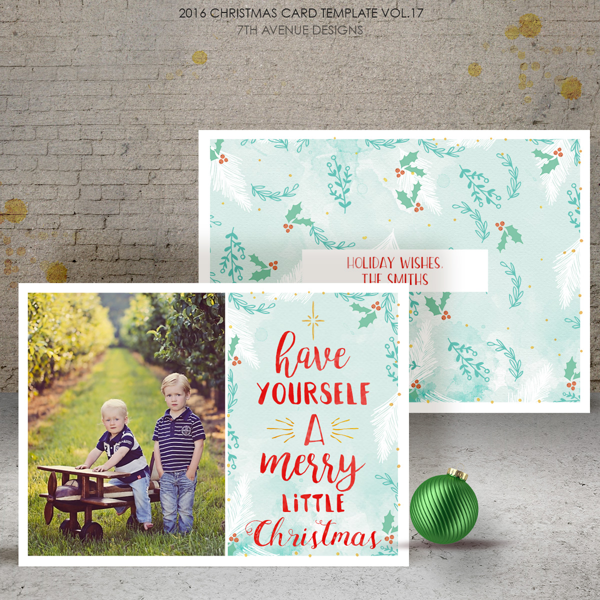 2016 Christmas Card Templates vol.17 -- 7x5 inch card template