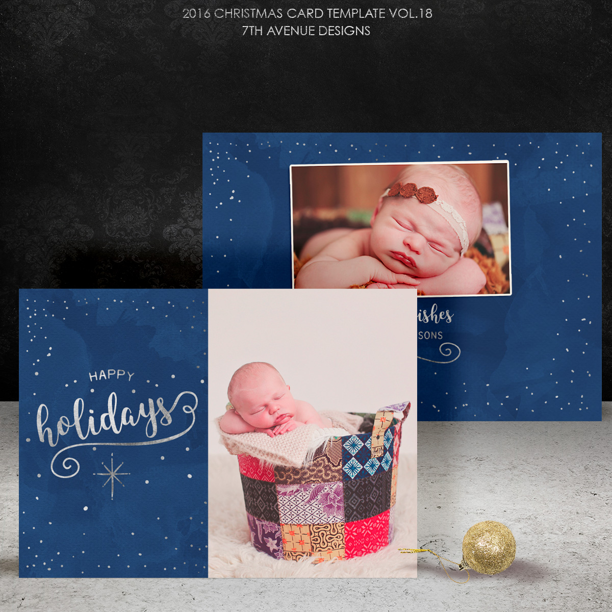 2016 Christmas Card Templates vol.18 -- 7x5 inch card template