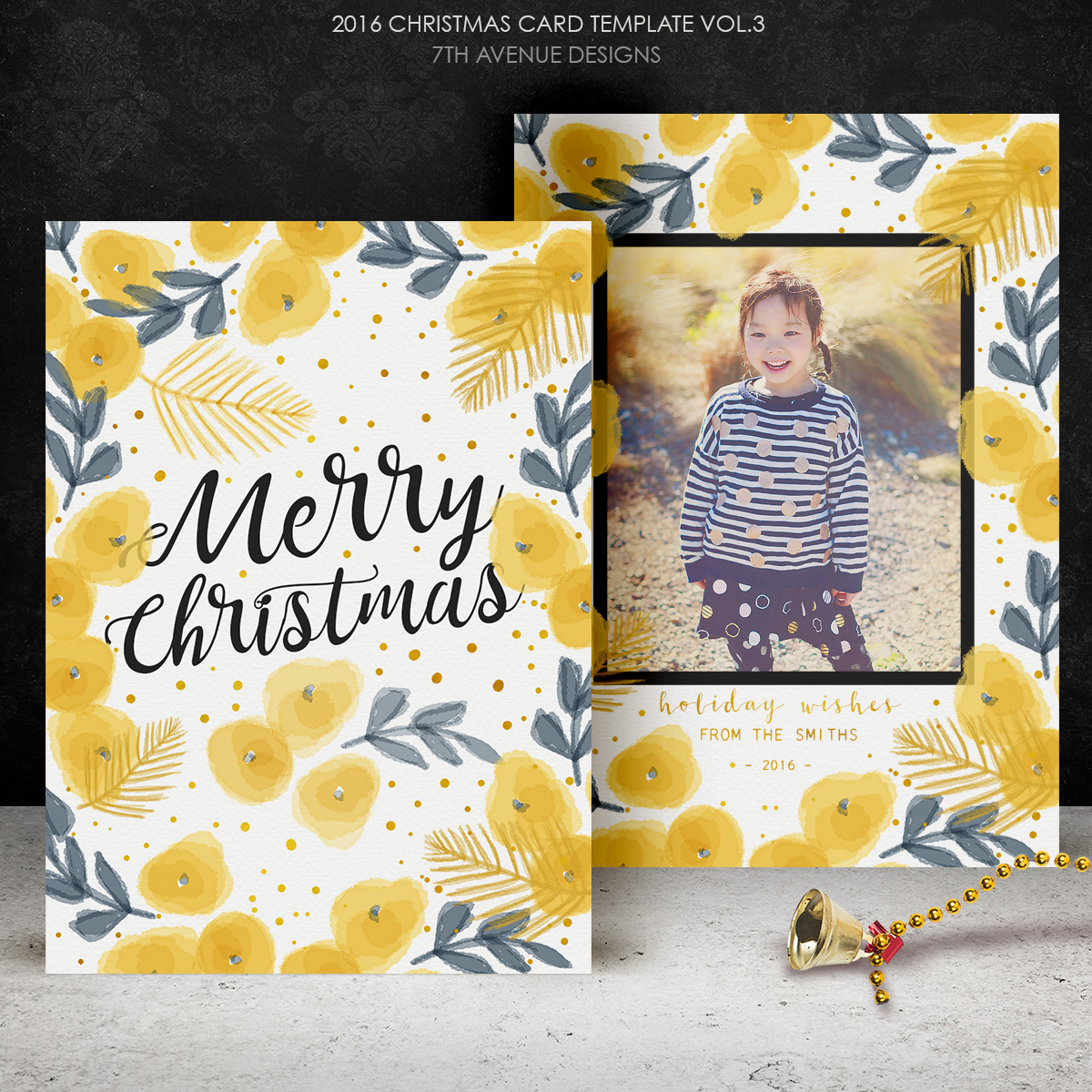 2016 Christmas Card Templates vol.3 -- 7x5 inch card template