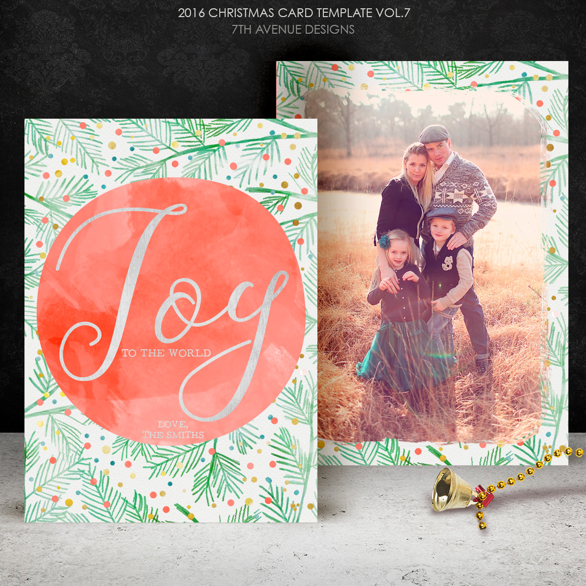 2016 Christmas Card Templates vol.7 -- 7x5 inch card template
