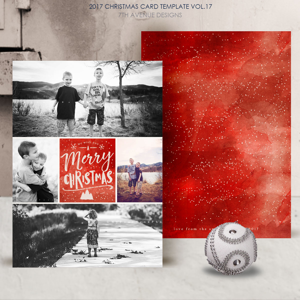 2017 christmas card templates vol17 - Christmas Photo Cards 2017
