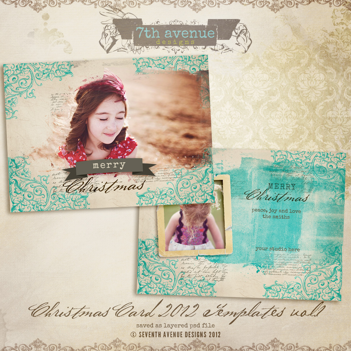 2012 Christmas Card Templates vol.1 -- 7x5 inch card template