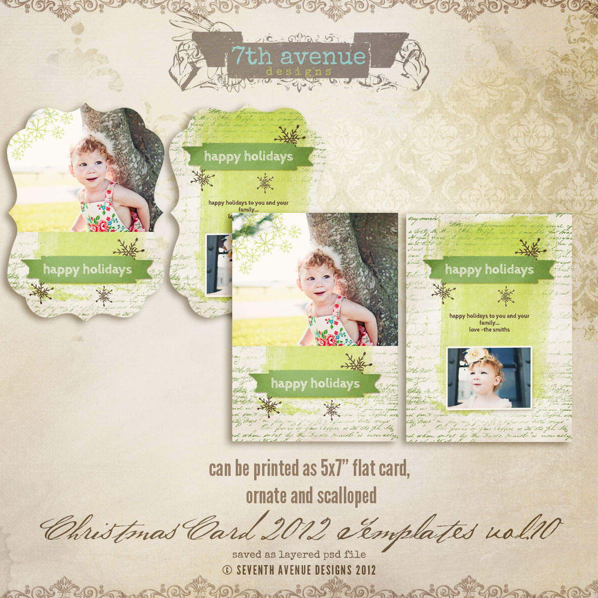 2012 Christmas Card Templates vol.10 -- 5x7 ornate