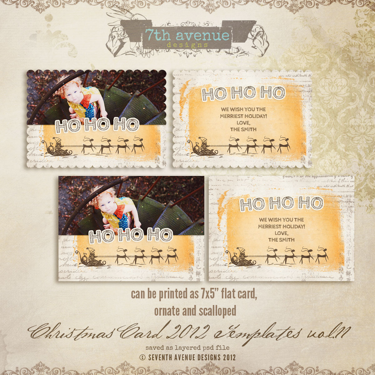 2012 Christmas Card Templates vol.11 -- 5x7 ornate