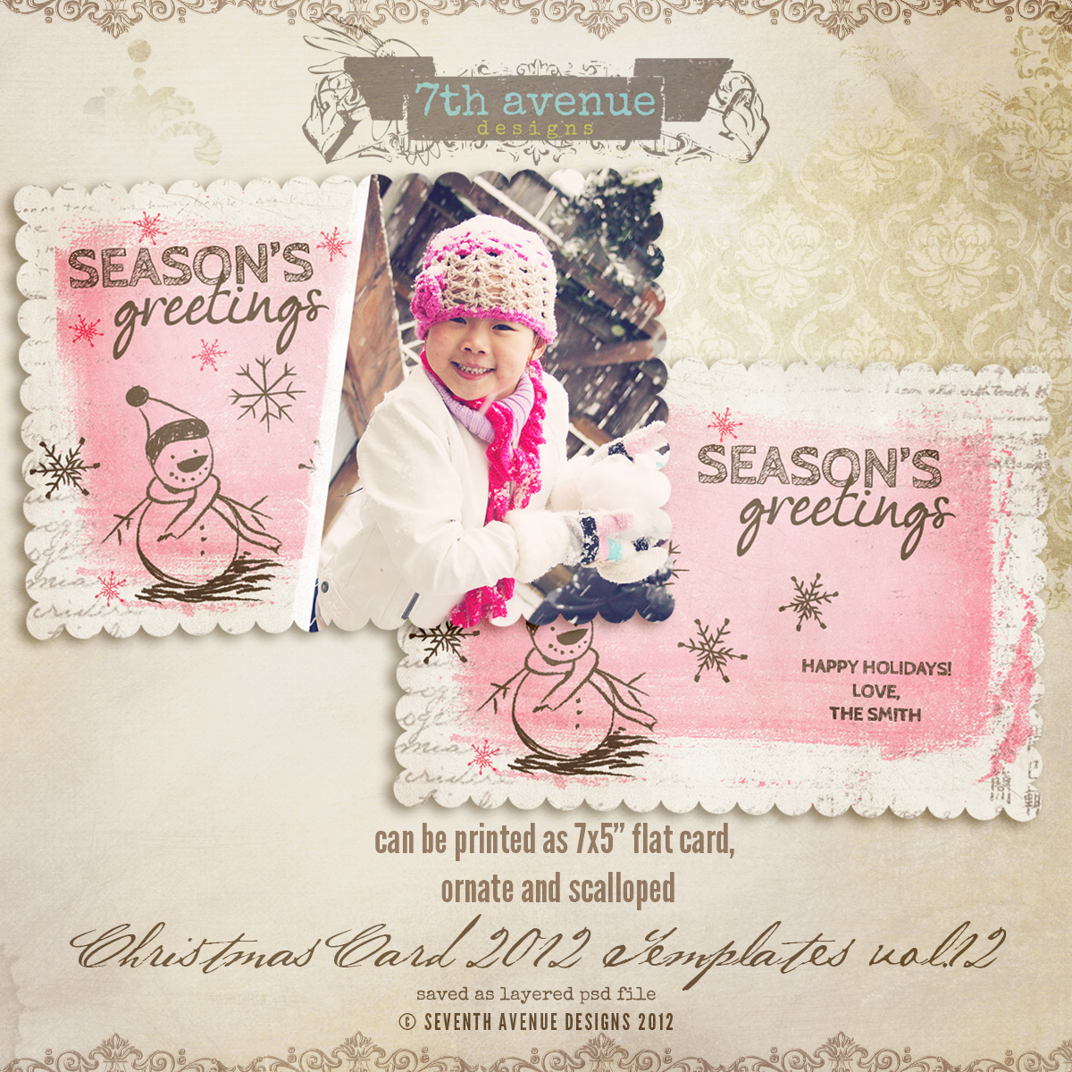 2012 Christmas Card Templates vol.12 -- 5x7 scalloped