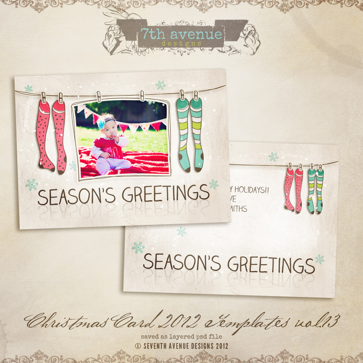 2012 Christmas Card Templates vol.13 -- 5x7 inch card template
