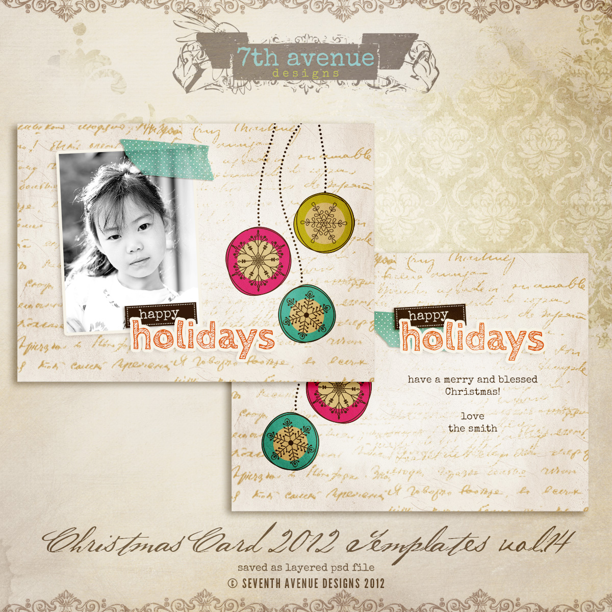 2012 Christmas Card Templates vol.14 -- 5x7 inch card template