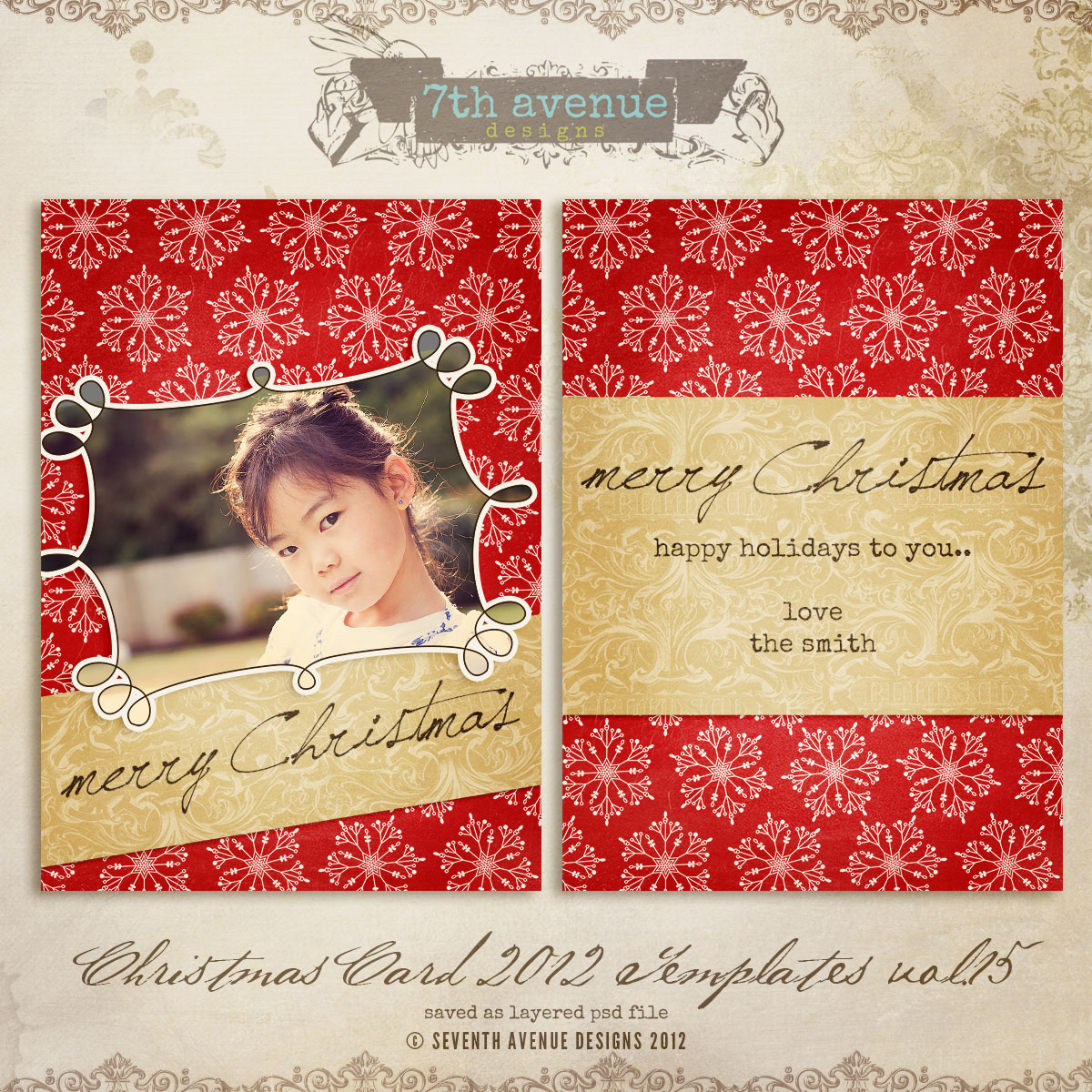 2012 Christmas Card Templates vol.15 -- 5x7 inch card template