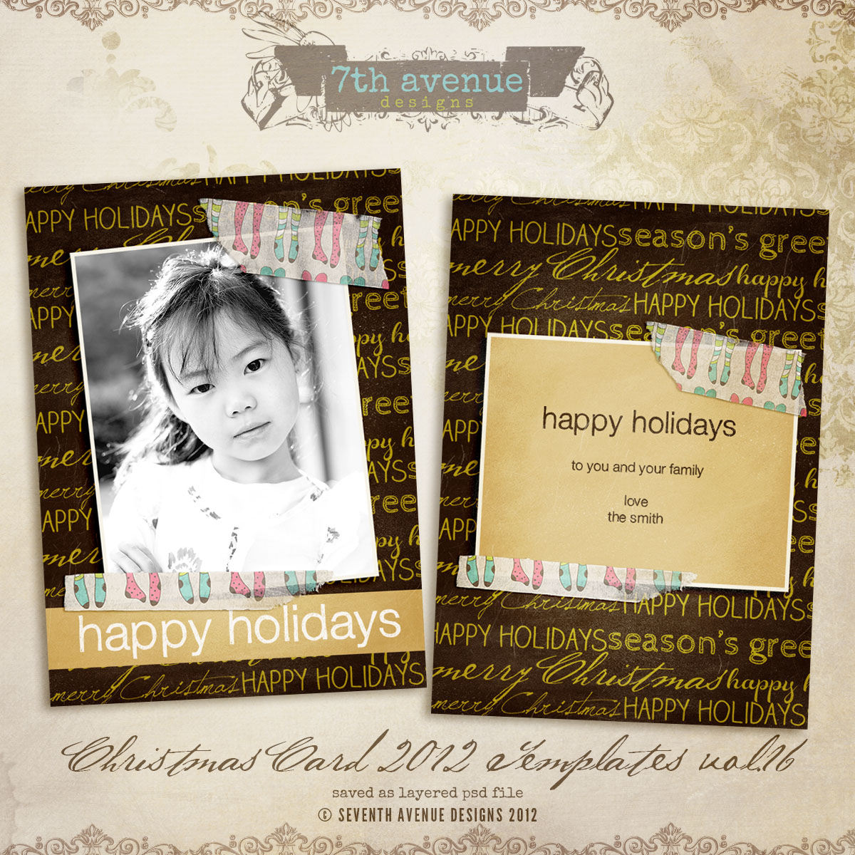 2012 Christmas Card Templates vol.16 -- 5x7 inch card template
