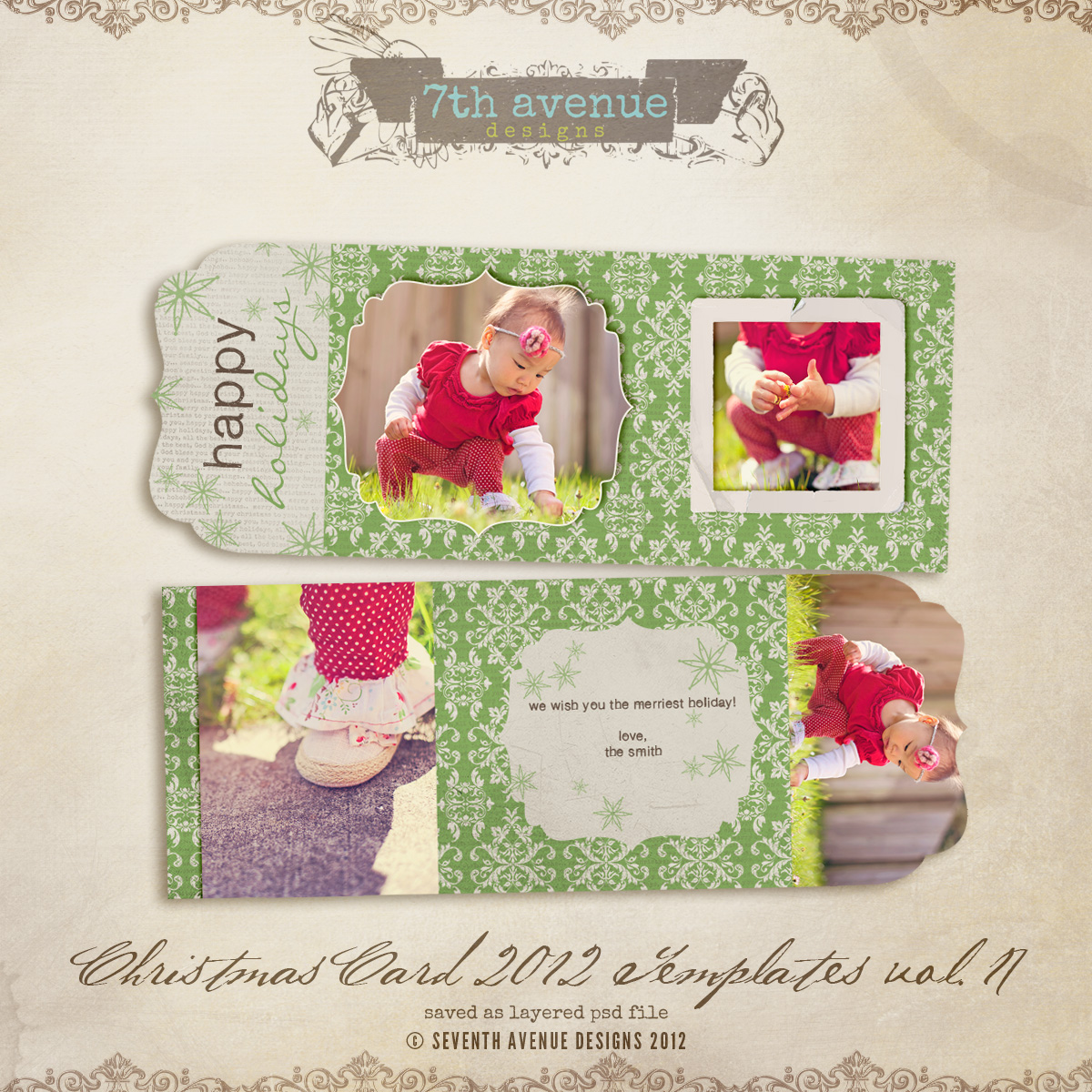 2012 Christmas Card Templates vol.17 -- Bifold Luxe Card