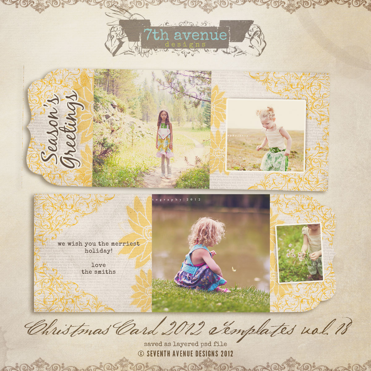 2012 Christmas Card Templates vol.18 -- Bifold Luxe Card