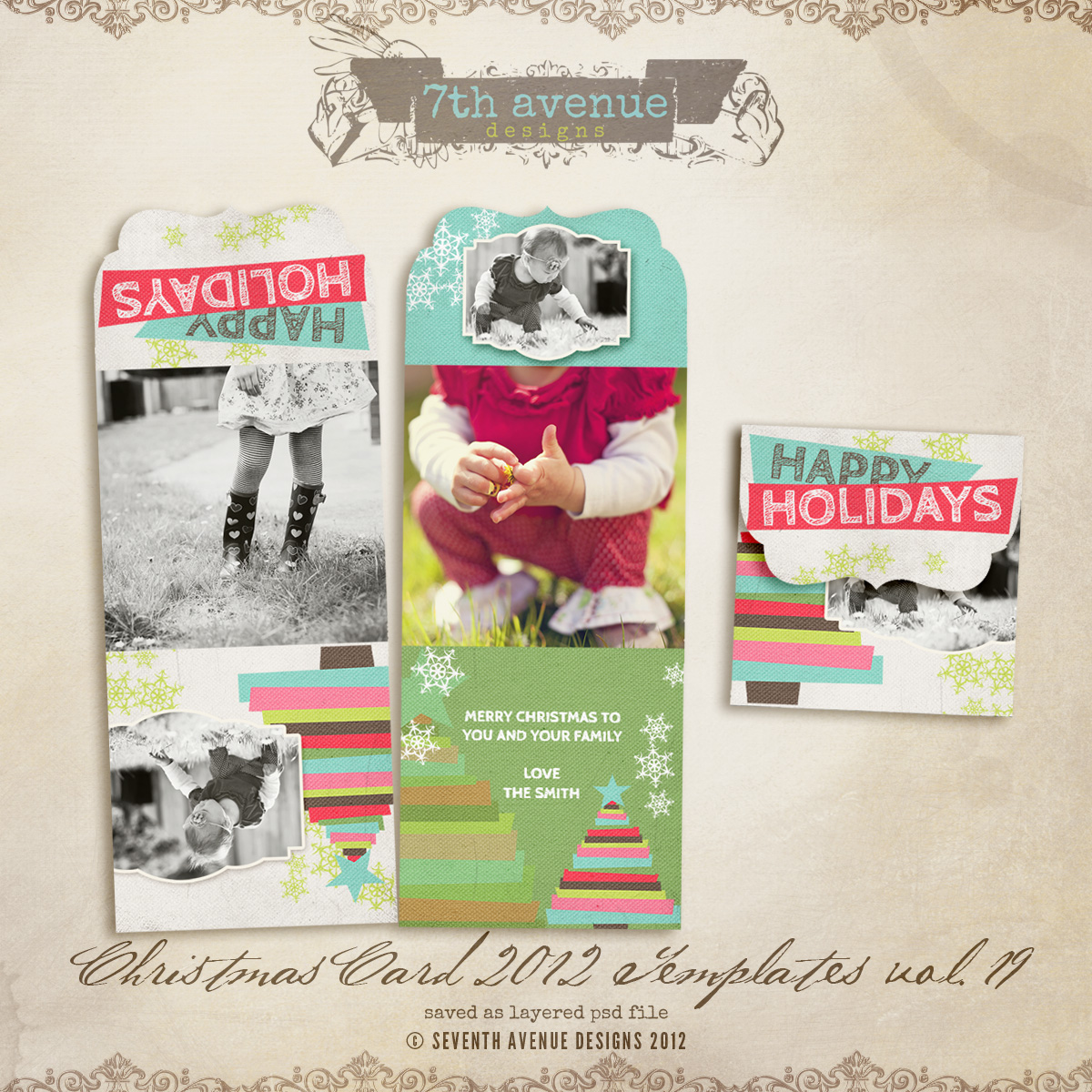 2012 Christmas Card Templates vol.19 -- Bifold Luxe Card