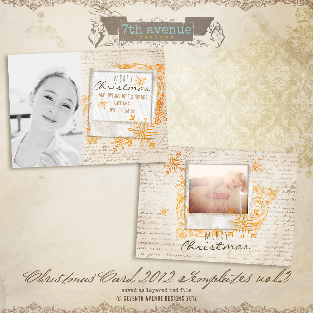 2012 Christmas Card Templates vol.2 -- 7x5 inch card template