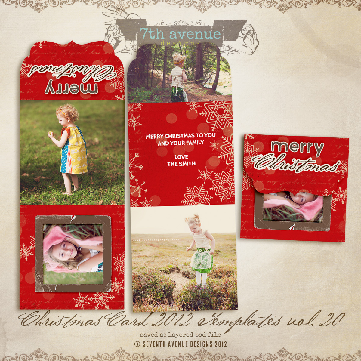 2012 Christmas Card Templates vol.20 -- Bifold Luxe Card