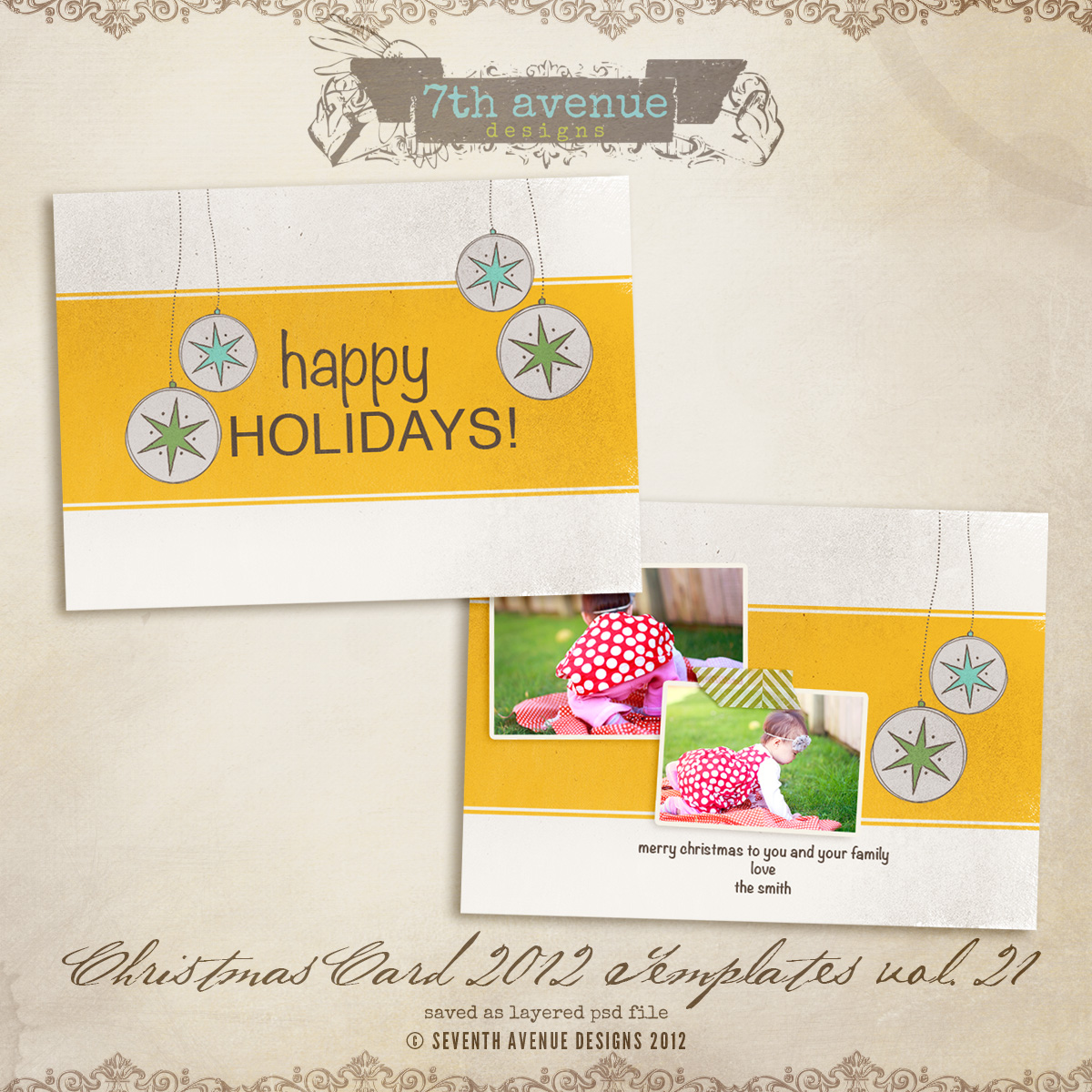 2012 Christmas Card Templates vol.21 -- 7x5 inch card template
