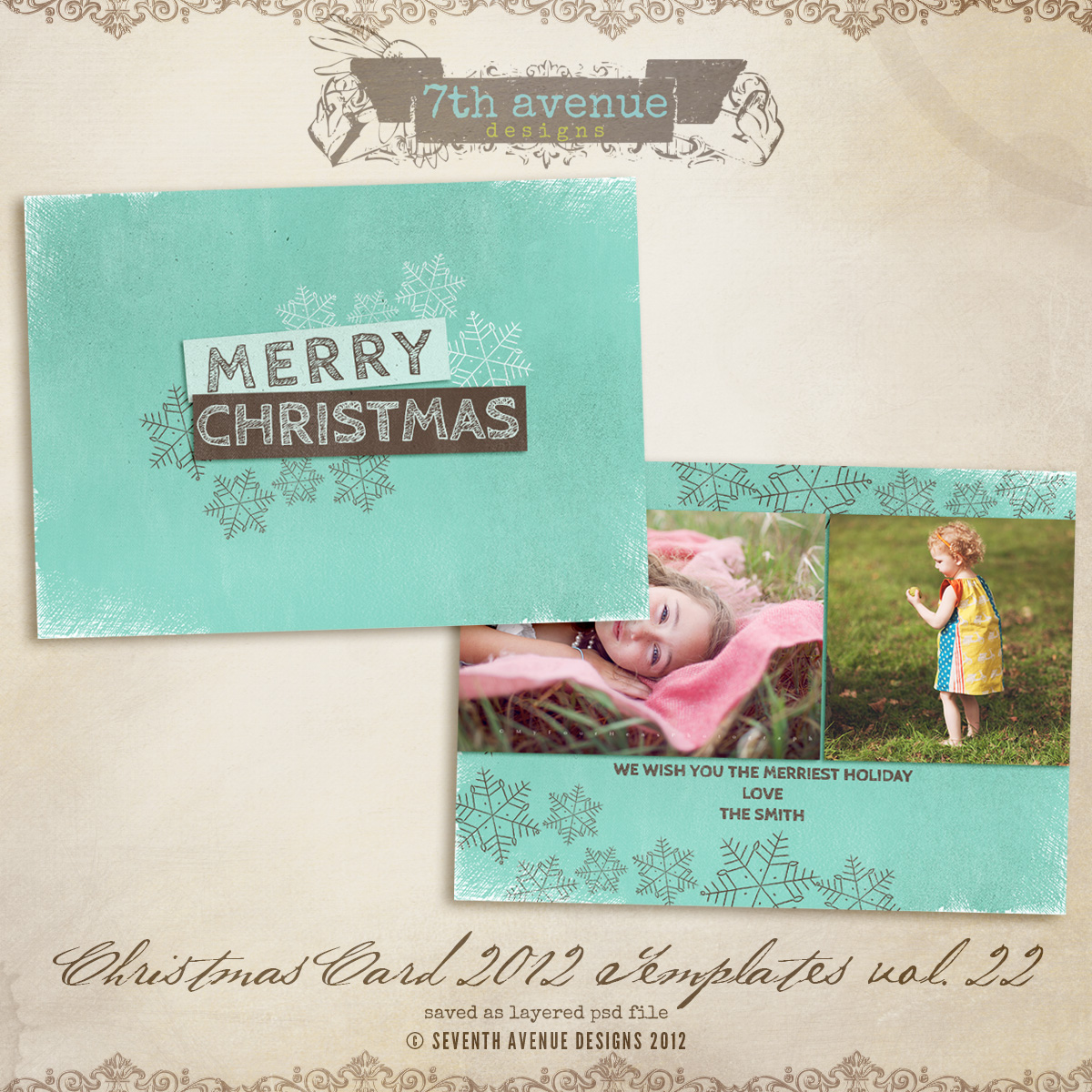 2012 Christmas Card Templates vol.22 -- 7x5 inch card template