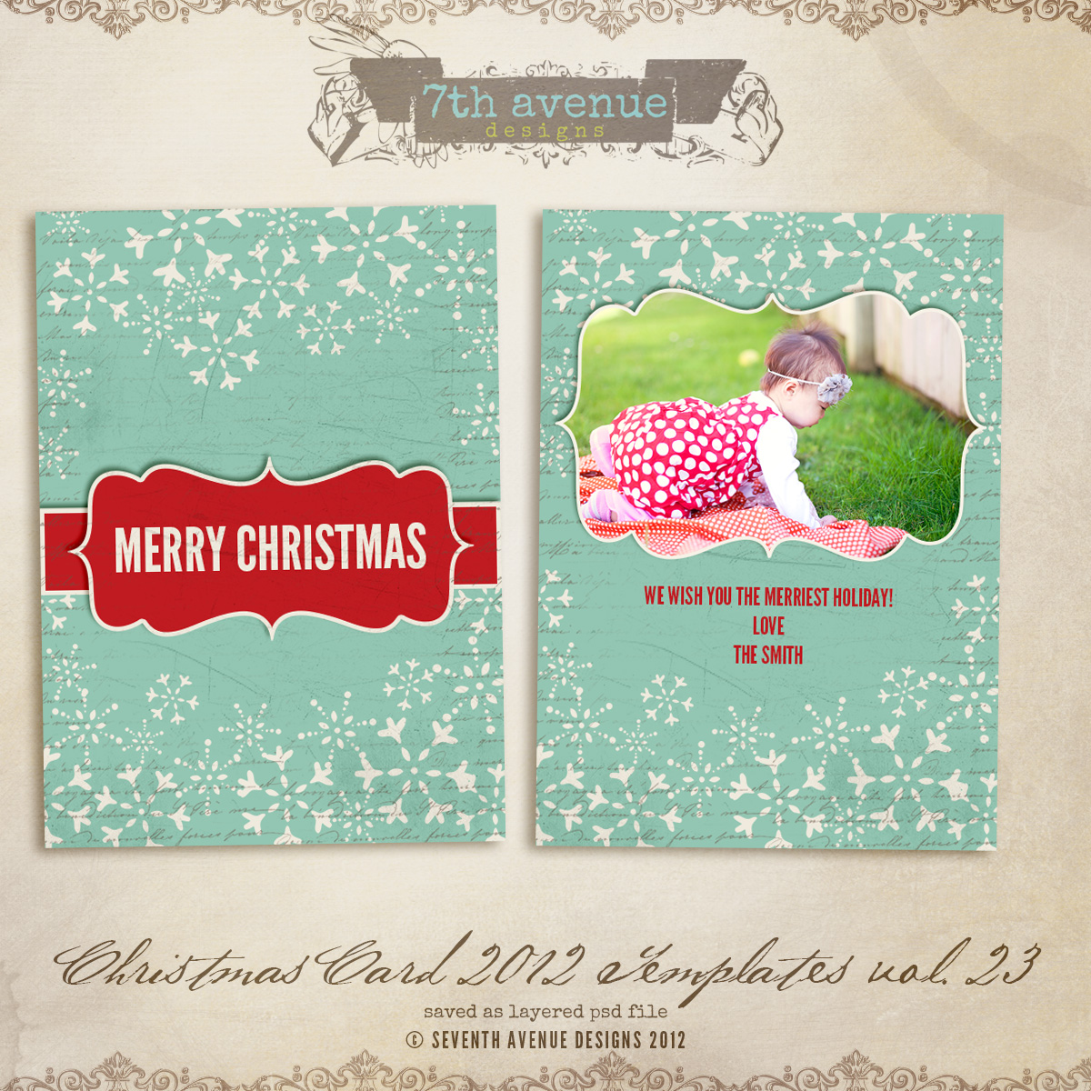 2012 Christmas Card Templates vol.23 -- 7x5 inch card template