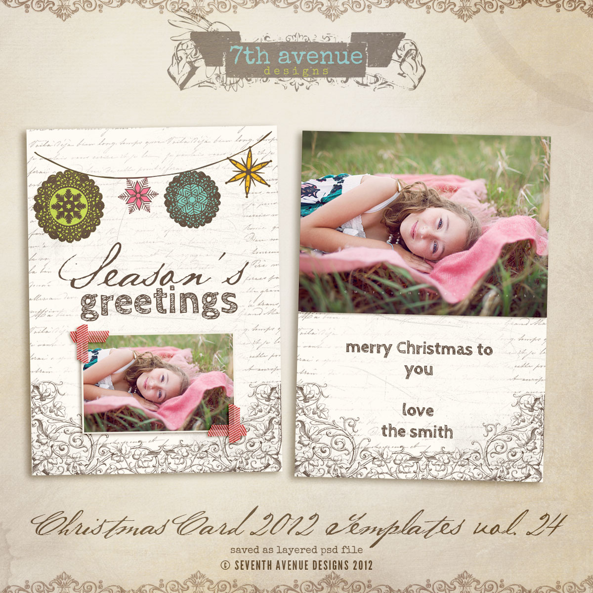 2012 Christmas Card Templates vol.24 -- 7x5 inch card template
