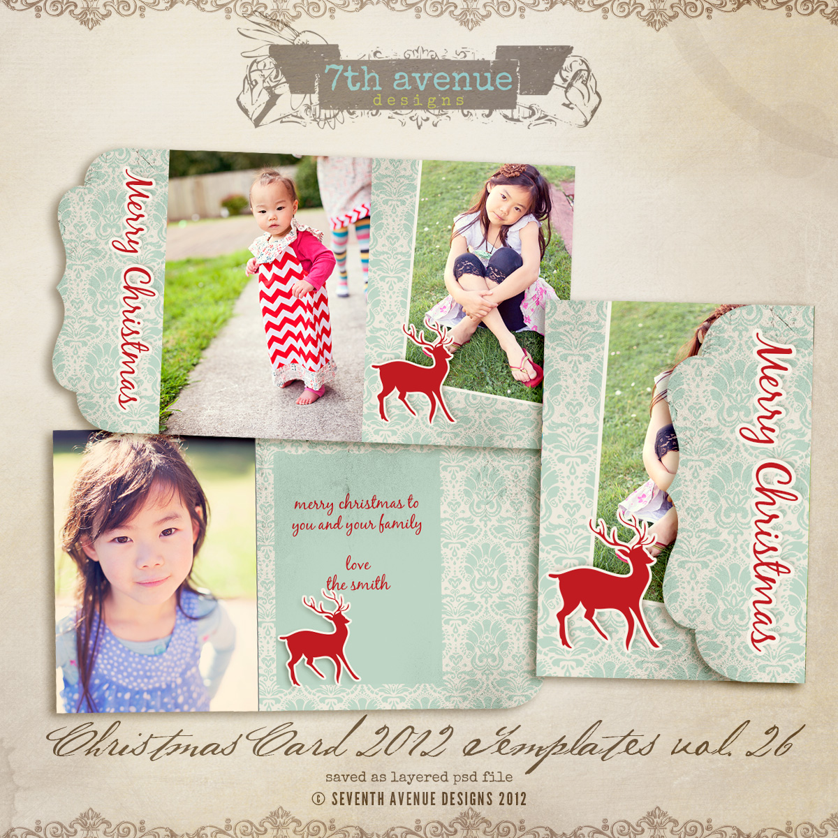 2012 Christmas Card Templates vol.26 -- Bifold Luxe Card