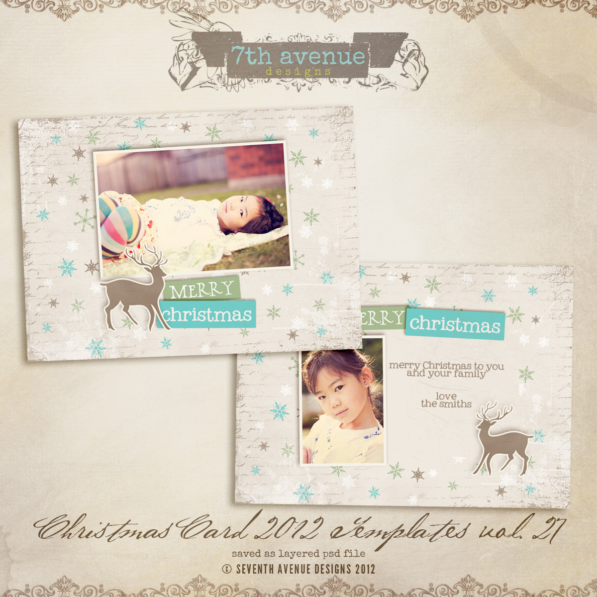 2012 Christmas Card Templates vol.27 -- 7x5 inch card template