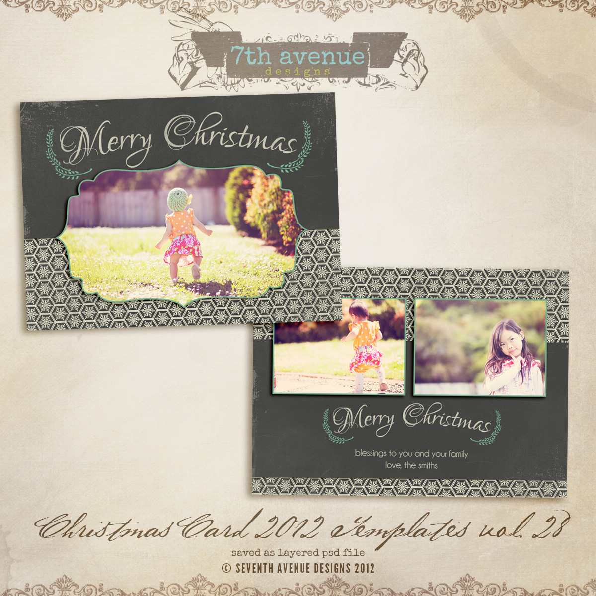 2012 Christmas Card Templates vol.28 -- 7x5 inch card template