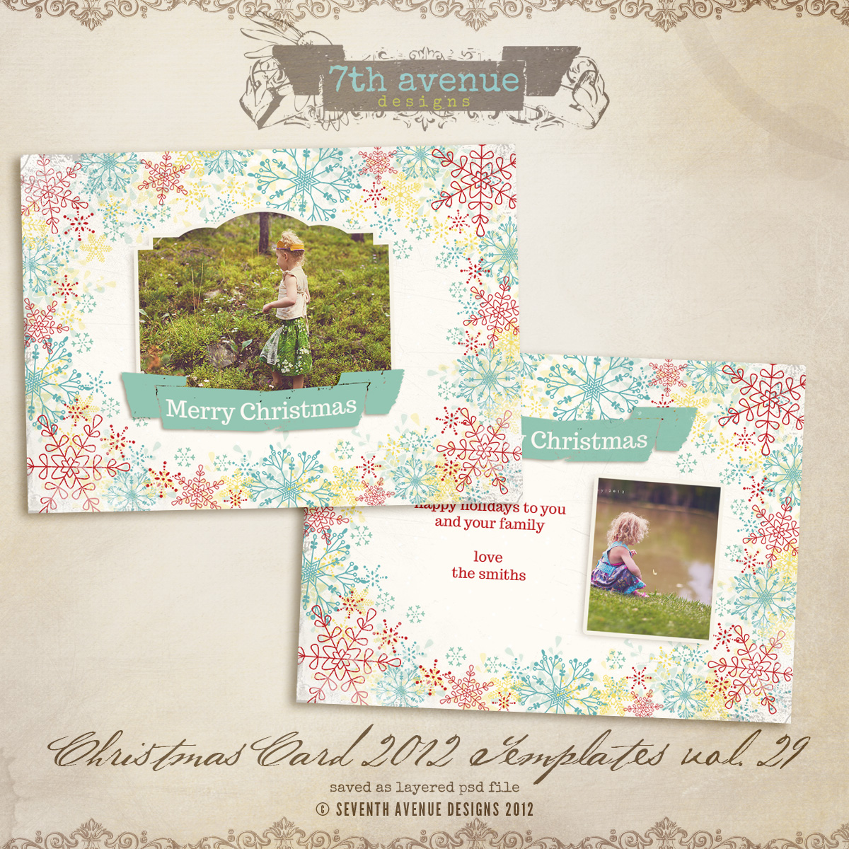 2012 Christmas Card Templates vol.29 -- 7x5 inch card template