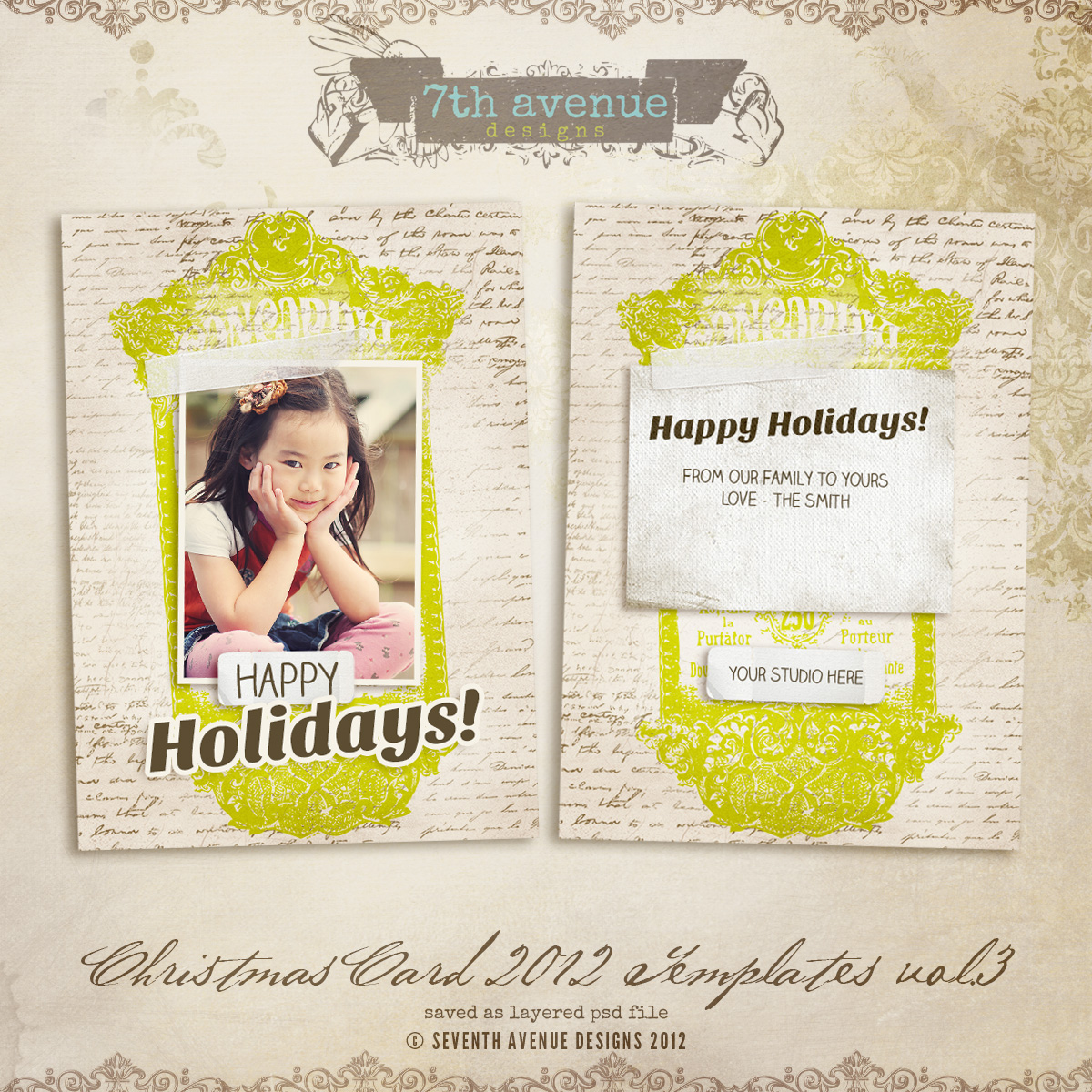 2012 Christmas Card Templates vol.3 -- 5x7 inch card template