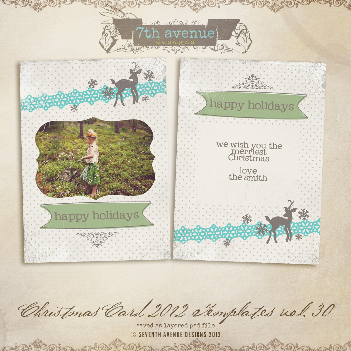 2012 Christmas Card Templates vol.30 -- 7x5 inch card template