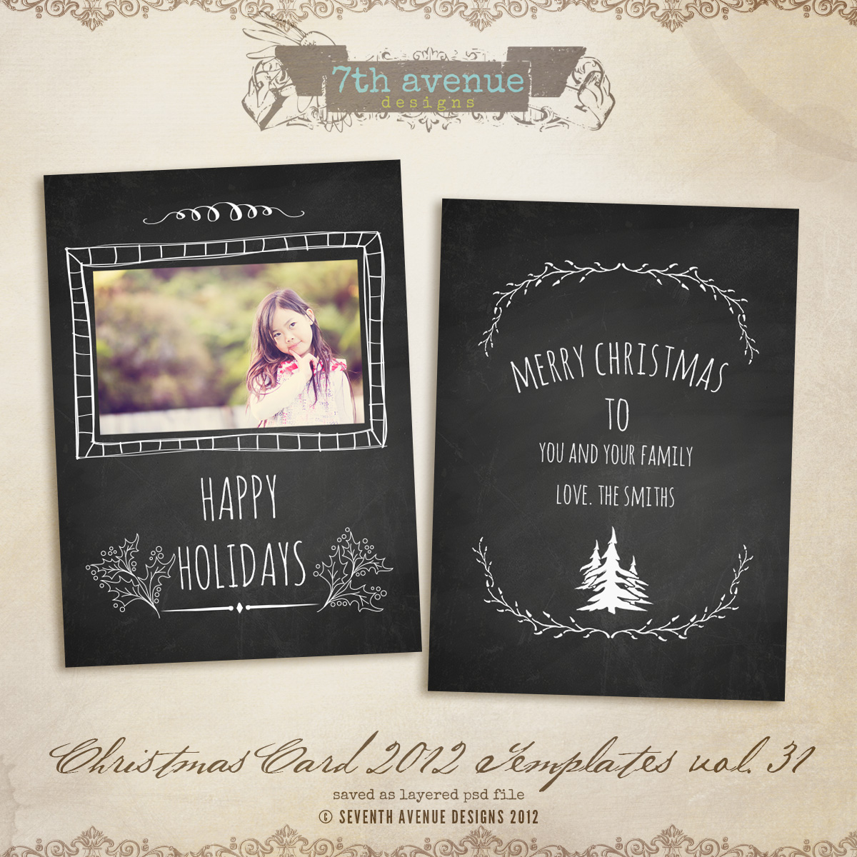 2012 Christmas Card Templates vol.31 -- 7x5 inch card template