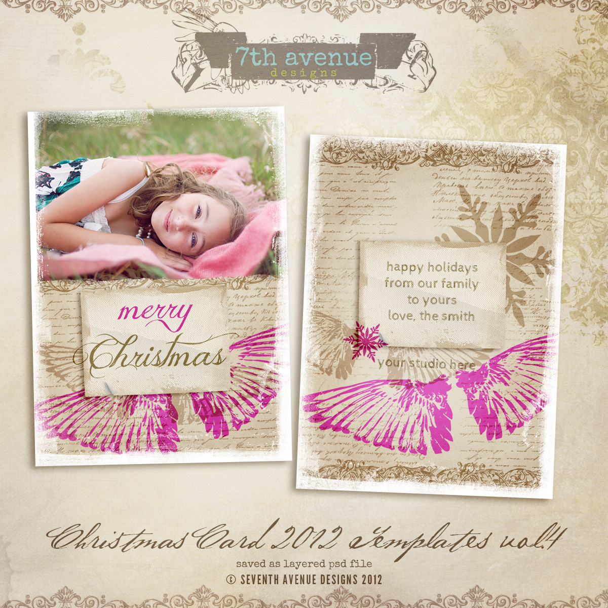 2012 Christmas Card Templates vol.4 -- 5x7 inch card template