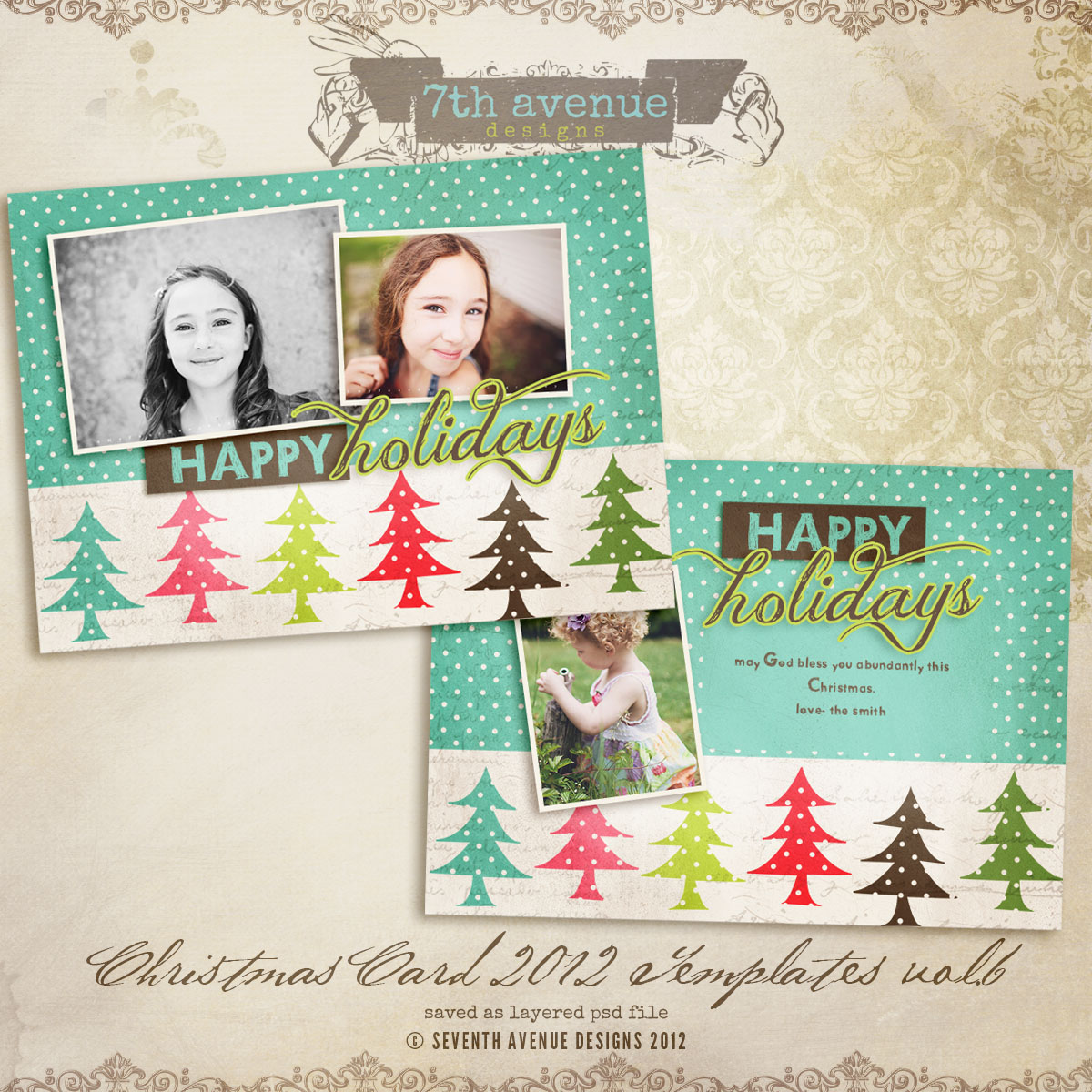 2012 Christmas Card Templates vol.6 -- 5x7 inch card template