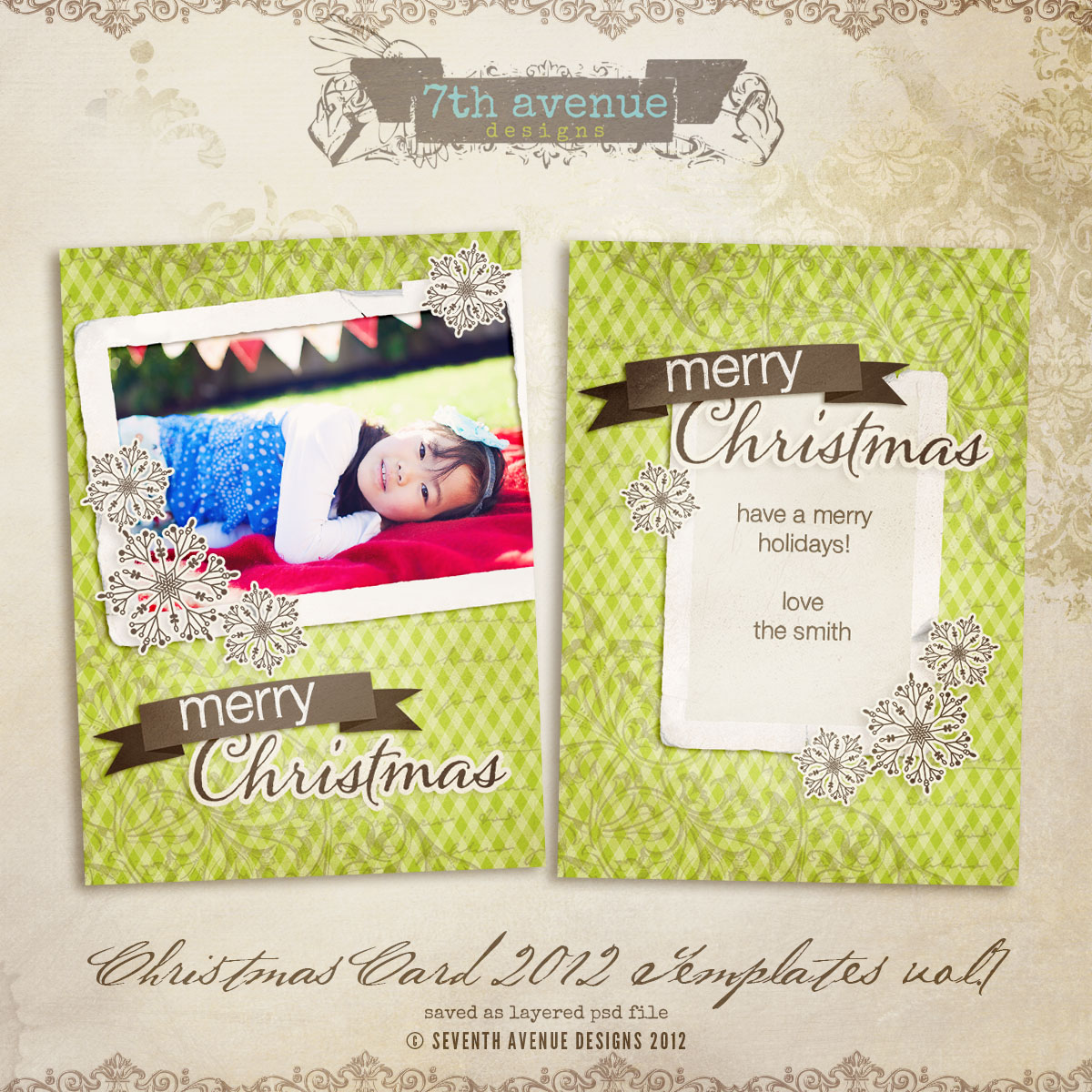 2012 Christmas Card Templates vol.7 -- 5x7 inch card template