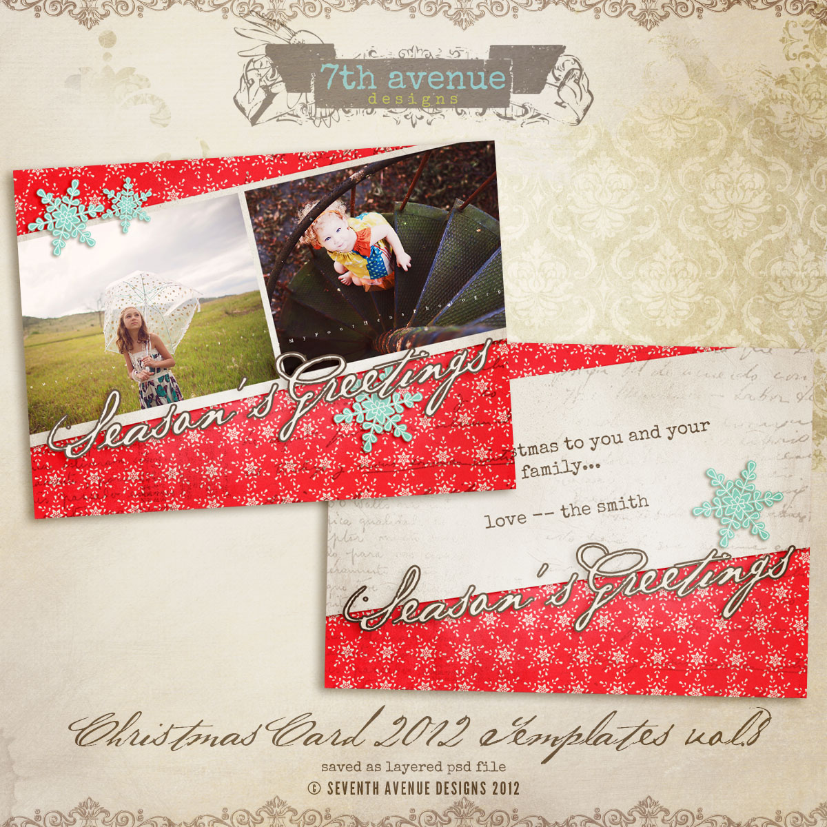 2012 Christmas Card Templates vol.8 -- 5x7 inch card template