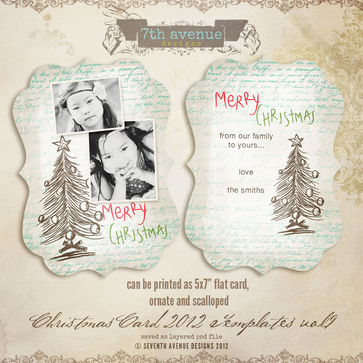 2012 Christmas Card Templates vol.9 -- 5x7 ornate