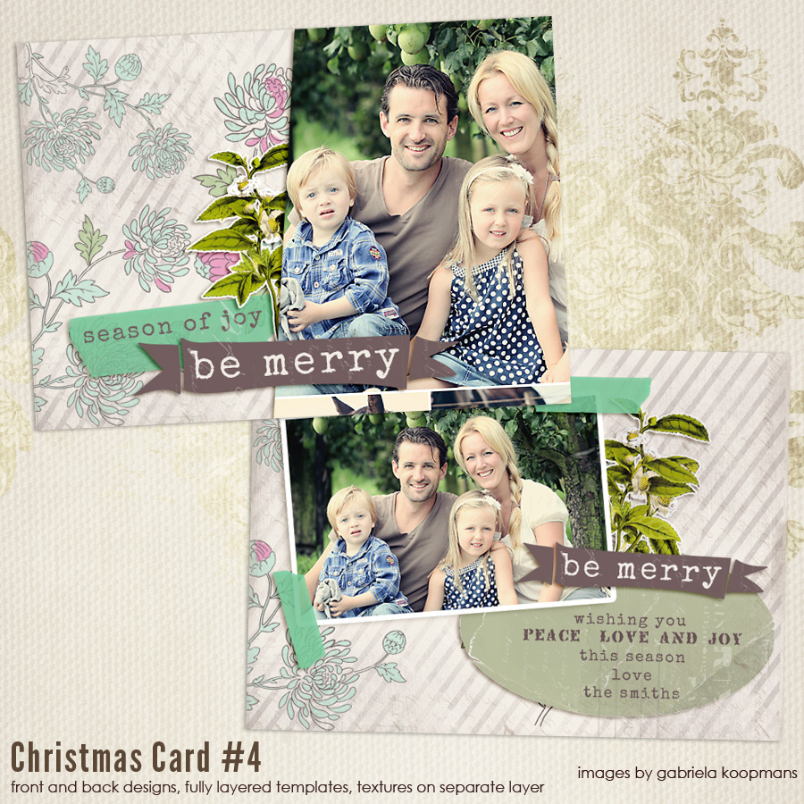 7x5 Christmas Card templates vol.4