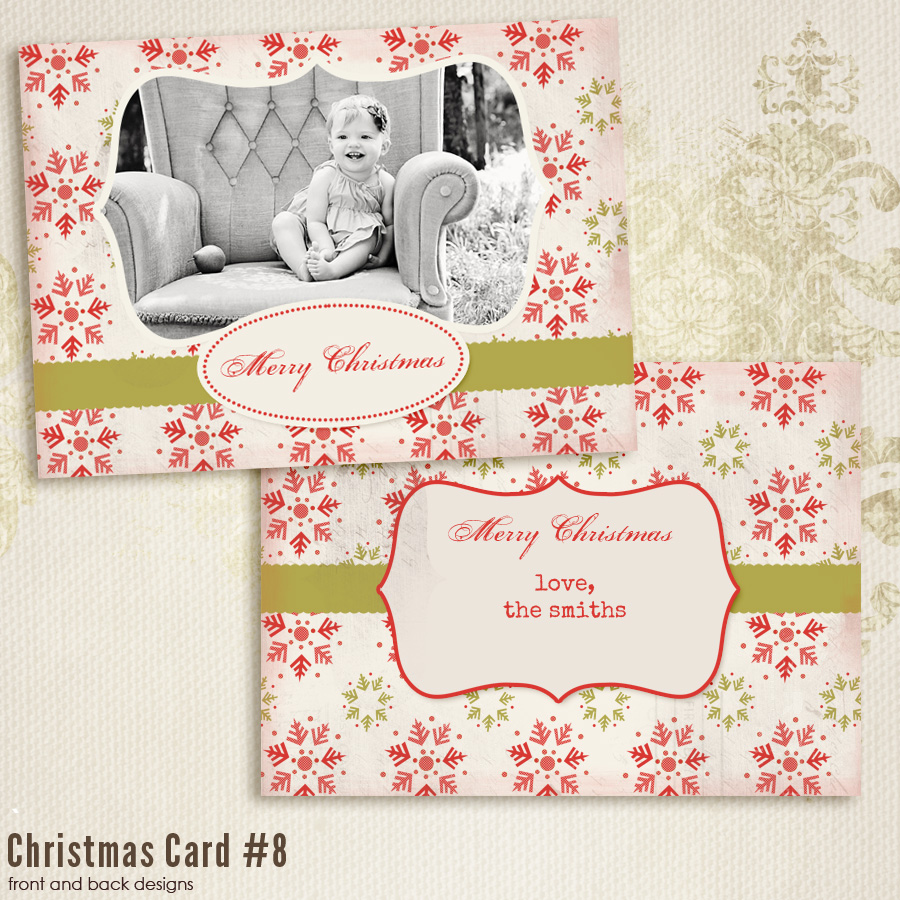 7x5 inch Christmas Card Templates vol.8