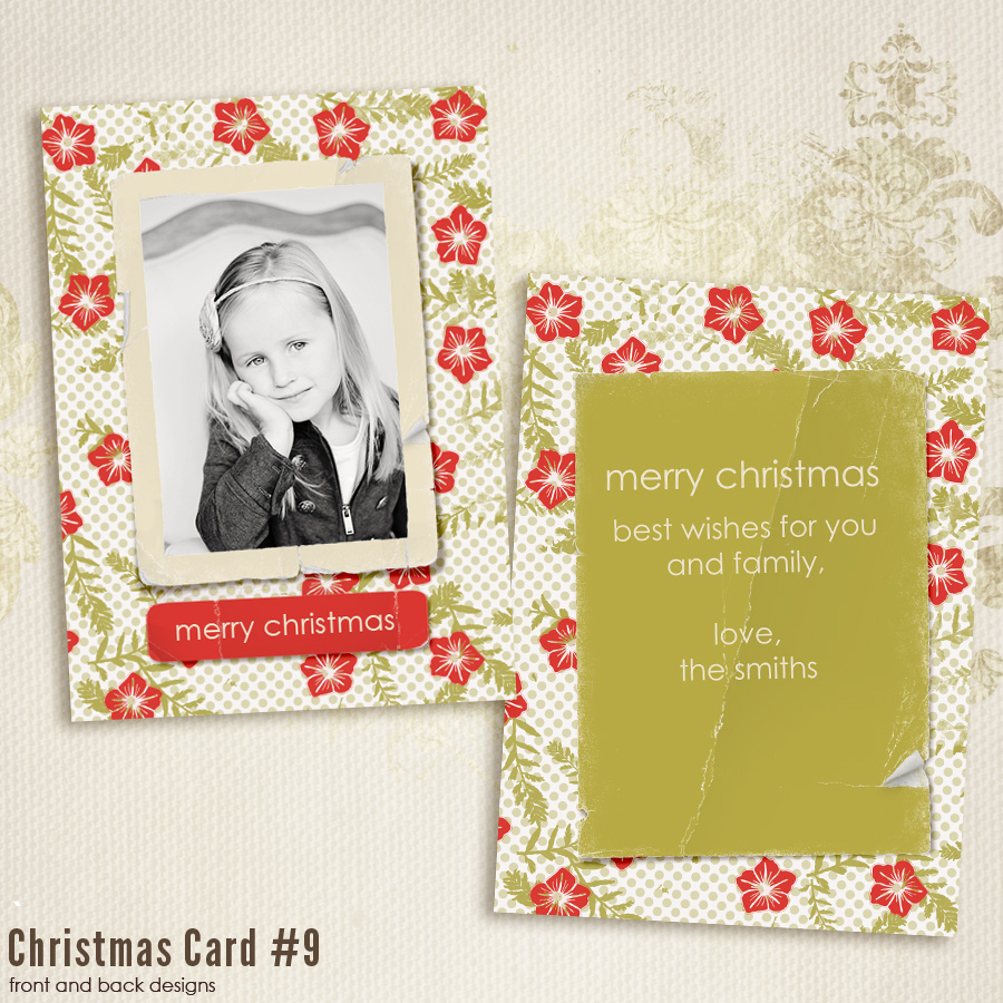 5x7 Christmas Card templates vol.9