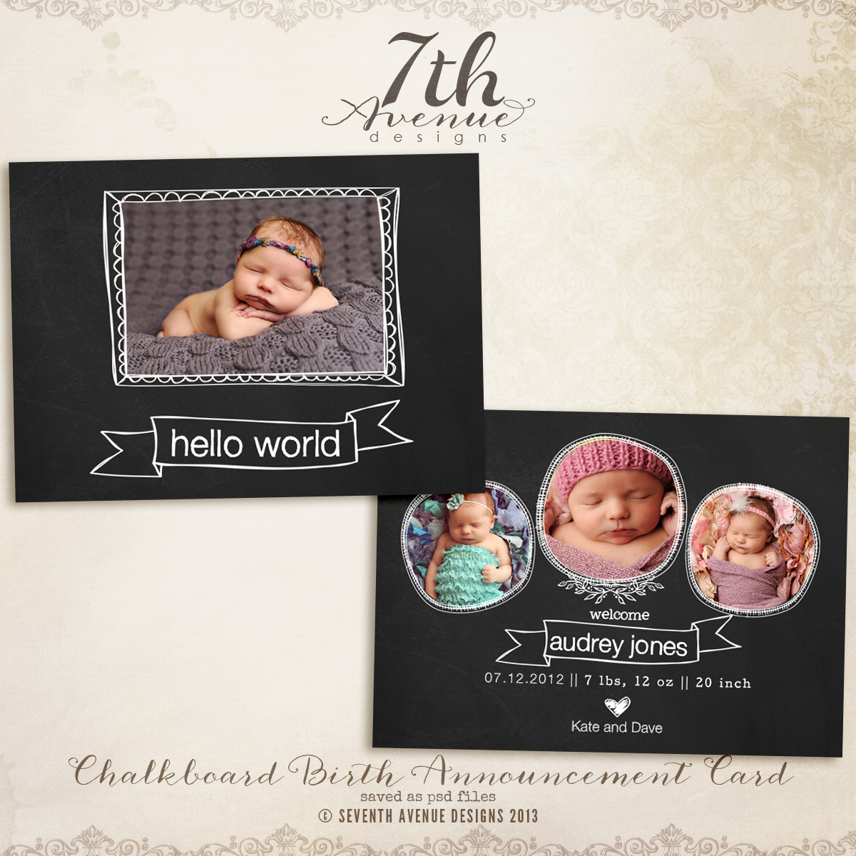 Chalkboard Birth Announcement Card Templates
