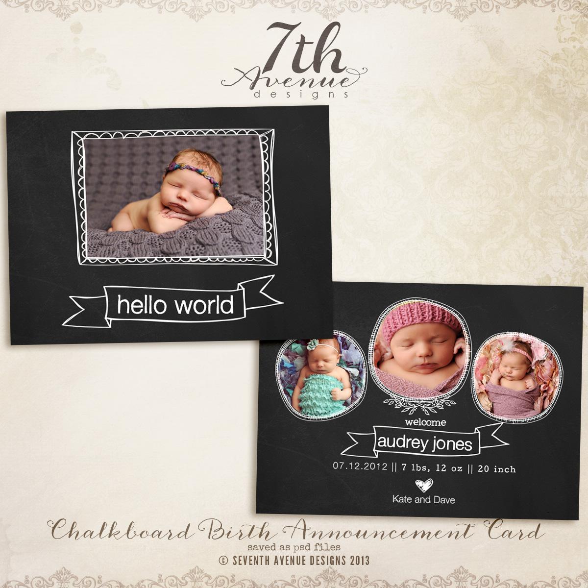 Chalkboard Birth Announcement Card Templates cardschalkboardbac – Chalkboard Birth Announcement