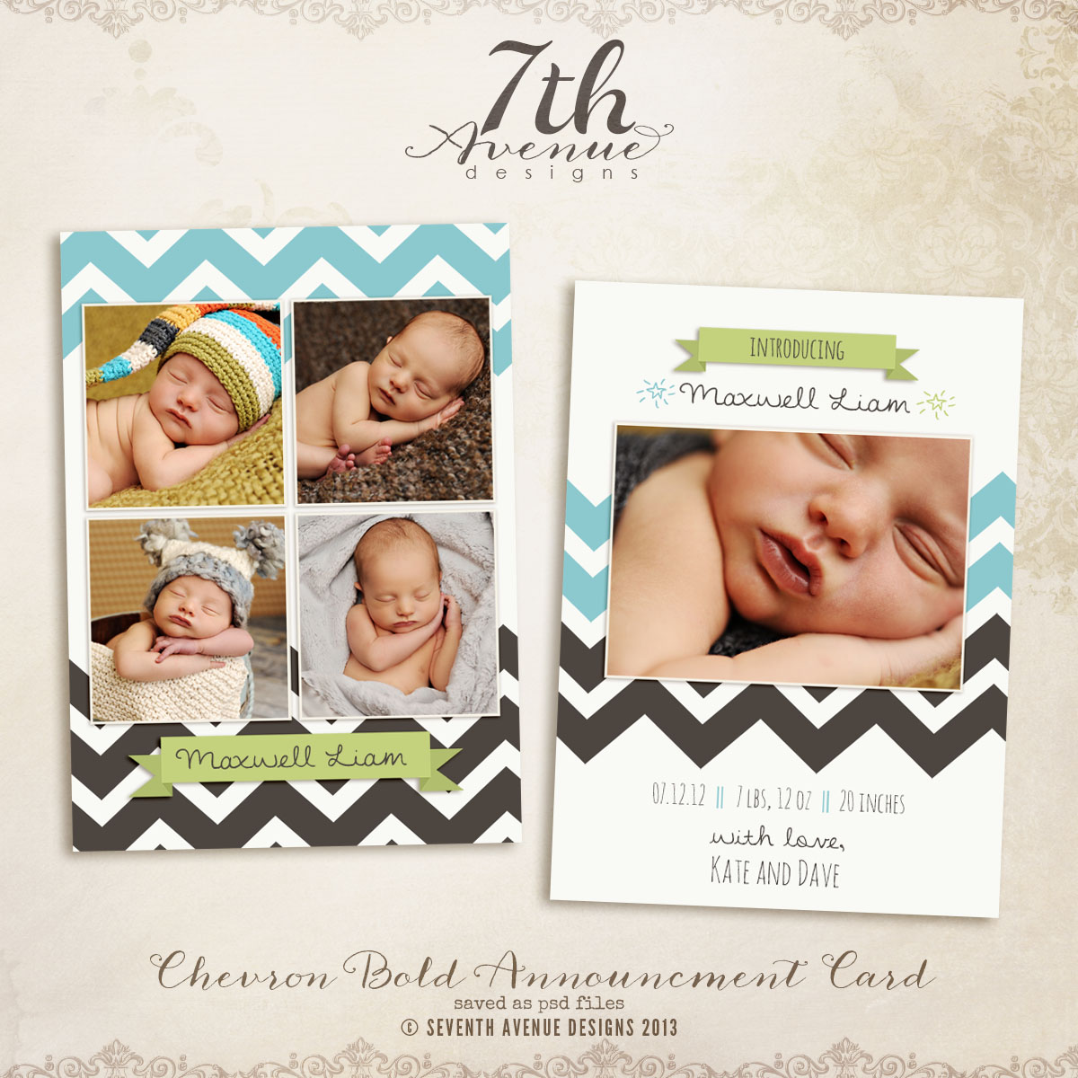 Bold Chevron Birth Announcement Card Templates