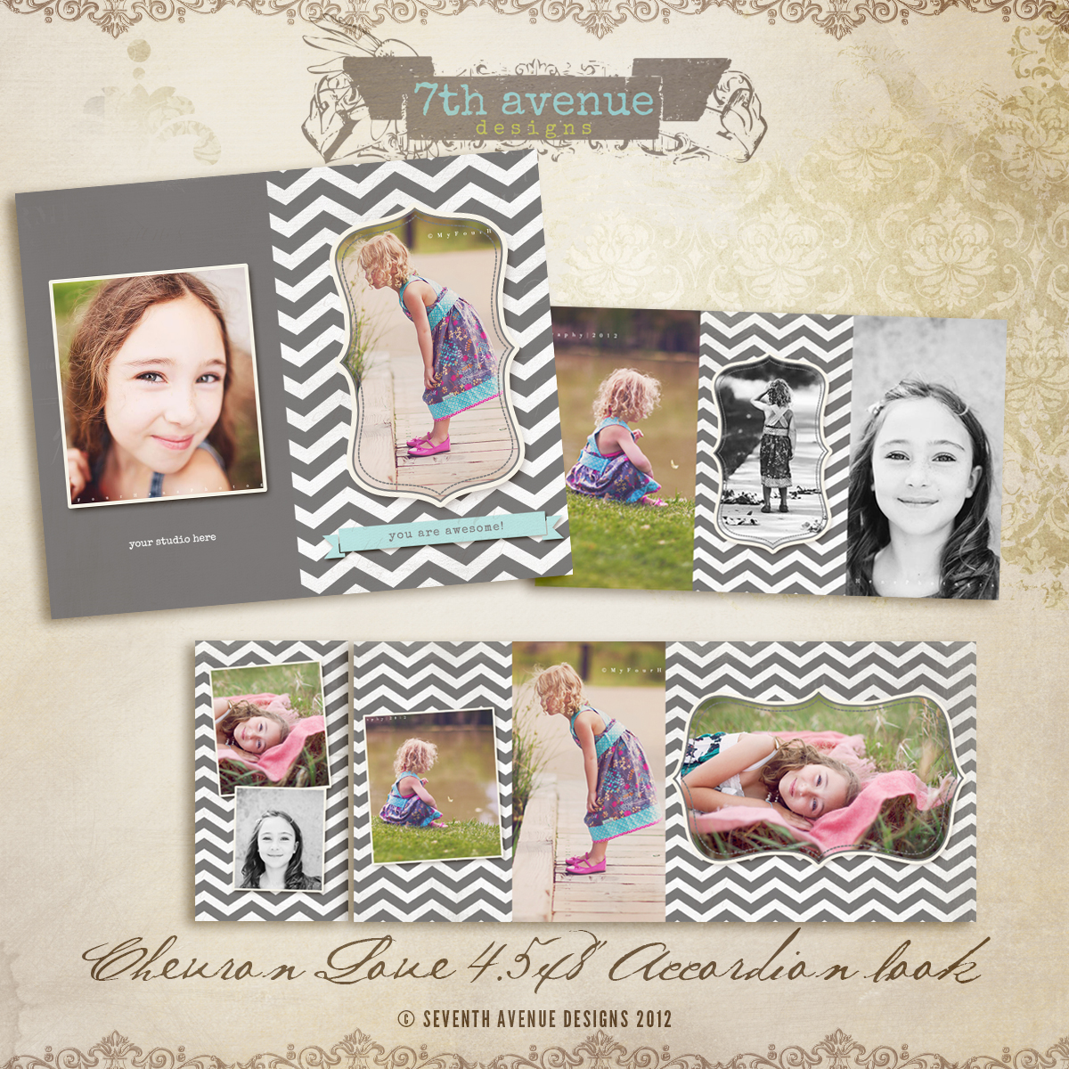 Chevron Love 4.5x8 Accordion book templates