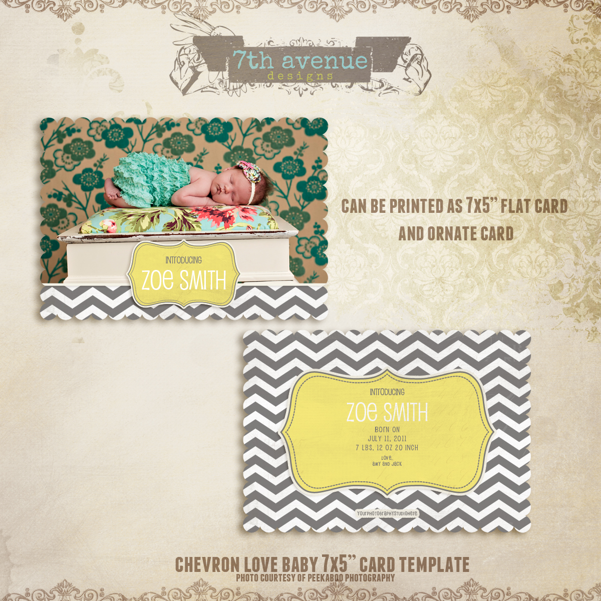 Chevron Love Birth Announcement Card Templates