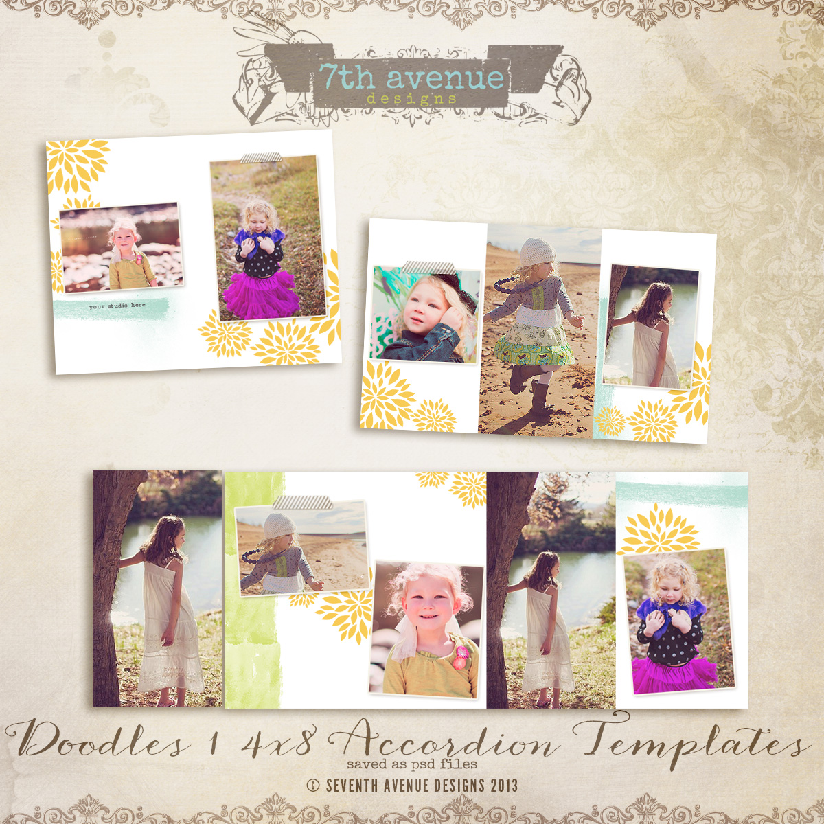 Doodles 1 4x8 Accordion book templates
