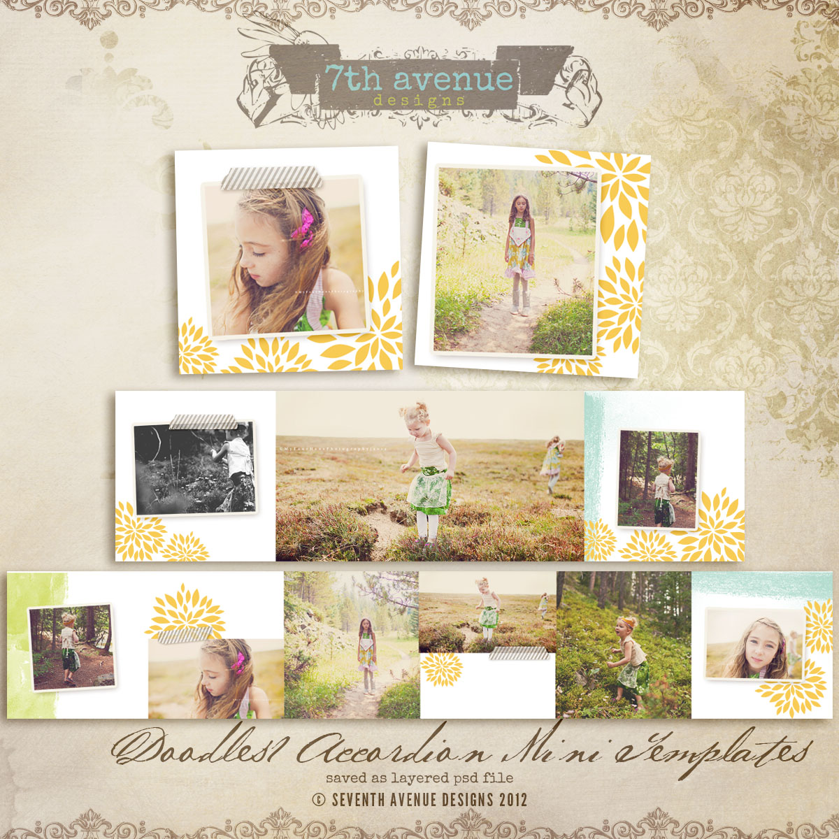 Doodles no.1 3x3 Accordion mini templates